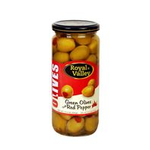 Royal Valley  Green Olives With Red Pepper Glass 500 Cc