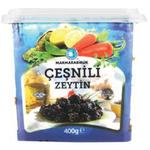 Marmara Birlik Gemlik Black Olives 2XS Cesnili  (351-380) 400Gr Plastic