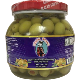 Yoruk Green Olives Stuffed With Peppers Cracked  XL (201-290) 700Gr Pet
